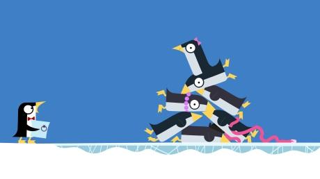 Da hat der Kellner-Pinguin ein schönes Chaos angerichtet